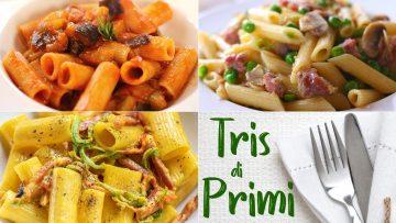 TRIS-DI-PRIMI-PIATTI-VELOCI-Pasta-alle-Melanzane-Salsiccia-e-Piselli-Speck-e-Fiori-di-Zucca-attachment